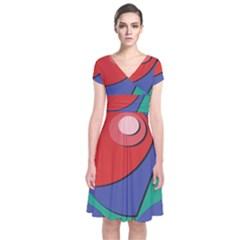Clipart Portrait Illustration Short Sleeve Front Wrap Dress by BangZart