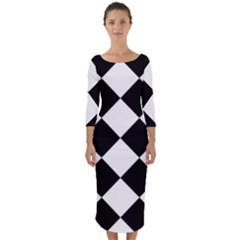 Grid Domino Bank And Black Quarter Sleeve Midi Bodycon Dress