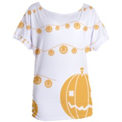 Pumpkin Halloween Deco Garland Women s Oversized Tee
