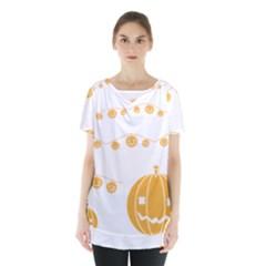 Pumpkin Halloween Deco Garland Skirt Hem Sports Top by BangZart