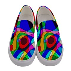 Digital Multicolor Colorful Curves Women s Canvas Slip Ons
