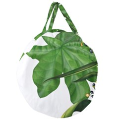 Plant Berry Leaves Green Flower Giant Round Zipper Tote by BangZart