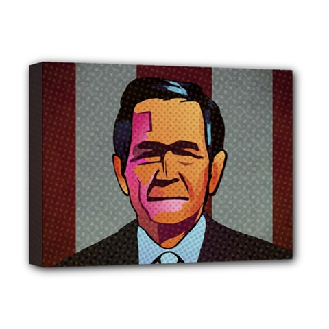 George W Bush Pop Art President Usa Deluxe Canvas 16  X 12   by BangZart