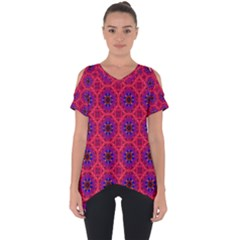Retro Abstract Boho Unique Cut Out Side Drop Tee