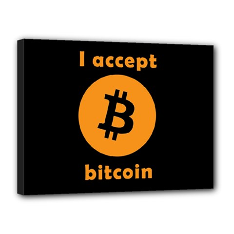 I Accept Bitcoin Canvas 16  X 12  by Valentinaart
