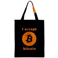 I Accept Bitcoin Zipper Classic Tote Bag by Valentinaart