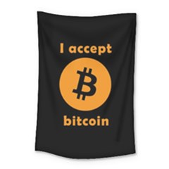 I Accept Bitcoin Small Tapestry by Valentinaart