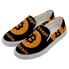 I Accept Bitcoin Men s Canvas Slip Ons by Valentinaart