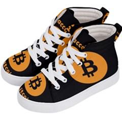I Accept Bitcoin Kid s Hi Top Skate Sneakers by Valentinaart