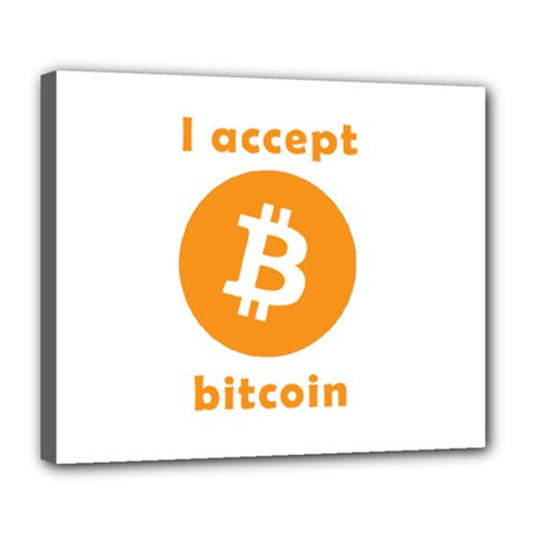 I Accept Bitcoin Deluxe Canvas 24  X 20   by Valentinaart
