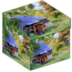 Landscape Blue Shed Scenery Wood Storage Stool 12   by BangZart