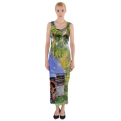 Landscape Blue Shed Scenery Wood Fitted Maxi Dress by BangZart