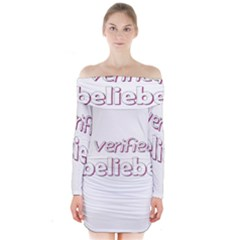 Verified Belieber Long Sleeve Off Shoulder Dress by Valentinaart
