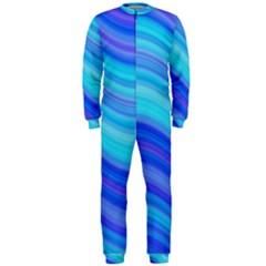 Blue Background Water Design Wave Onepiece Jumpsuit (men)