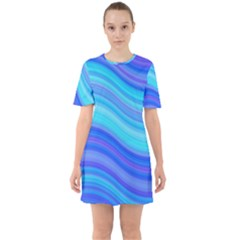 Blue Background Water Design Wave Sixties Short Sleeve Mini Dress