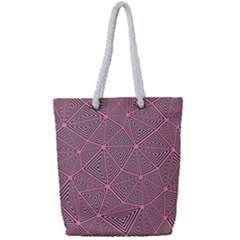 Triangle Background Abstract Full Print Rope Handle Tote (small)