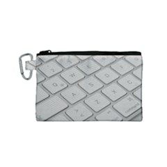 Keyboard Letters Key Print White Canvas Cosmetic Bag (small) by BangZart