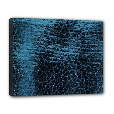 Blue Black Shiny Fabric Pattern Deluxe Canvas 20  X 16   by BangZart