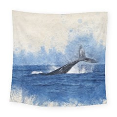 Whale Watercolor Sea Square Tapestry (large) by BangZart