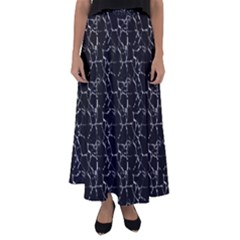 Black And White Textured Pattern Flared Maxi Skirt by dflcprints