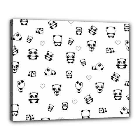 Panda Pattern Canvas 20  X 16  by Valentinaart