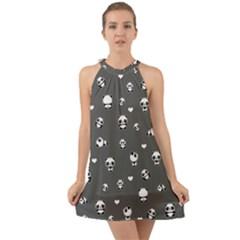 Panda Pattern Halter Tie Back Chiffon Dress by Valentinaart