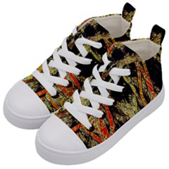 Artistic Effect Fractal Forest Background Kid s Mid Top Canvas Sneakers by Amaryn4rt