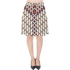 Flower Of Life Pattern Red Blue Velvet High Waist Skirt by Cveti