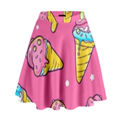 Summer Ice Creams Flavors Pattern High Waist Skirt by allthingseveryday