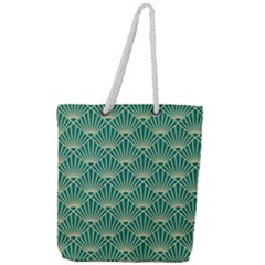 Green Fan  Full Print Rope Handle Tote (large) by 8fugoso