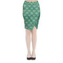 Green Fan  Midi Wrap Pencil Skirt