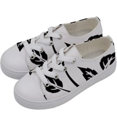 Flower Rose Contour Outlines Black Kids  Low Top Canvas Sneakers by Celenk