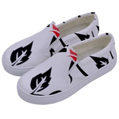 Flower Rose Contour Outlines Black Kids  Canvas Slip Ons by Celenk
