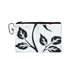 Flower Rose Contour Outlines Black Canvas Cosmetic Bag (small) by Celenk