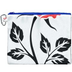 Flower Rose Contour Outlines Black Canvas Cosmetic Bag (xxxl) by Celenk