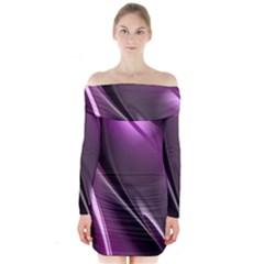 Fractal Mathematics Abstract Long Sleeve Off Shoulder Dress