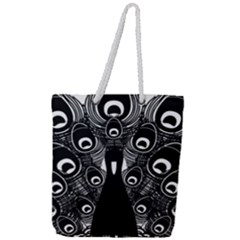 Peacock Bird Animal Feather Full Print Rope Handle Tote (large)