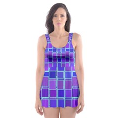 Background Mosaic Purple Blue Skater Dress Swimsuit by Celenk