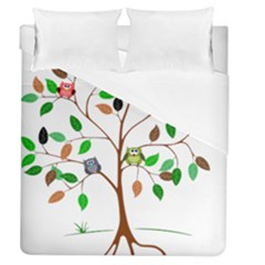 Tree Root Leaves Owls Green Brown Duvet Cover (queen Size) by Celenk