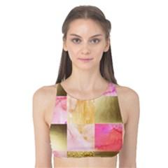 Collage Gold And Pink Tank Bikini Top by 8fugoso
