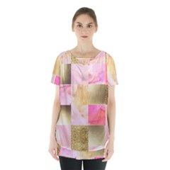 Collage Gold And Pink Skirt Hem Sports Top by 8fugoso