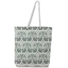 Teal Beige Full Print Rope Handle Tote (large) by 8fugoso