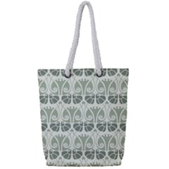 Teal Beige Full Print Rope Handle Tote (small) by 8fugoso
