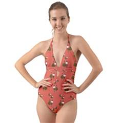 Dance Halter Cut Out One Piece Swimsuit