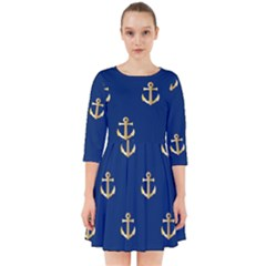 Gold Anchors Background Smock Dress by Celenk