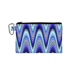 Waves Wavy Blue Pale Cobalt Navy Canvas Cosmetic Bag (small) by Celenk