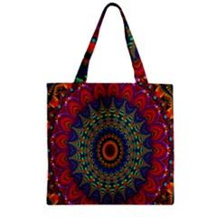 Kaleidoscope Mandala Pattern Zipper Grocery Tote Bag by Celenk