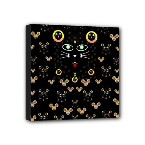 Merry Black Cat In The Night And A Mouse Involved Pop Art Mini Canvas 4  X 4  by pepitasart