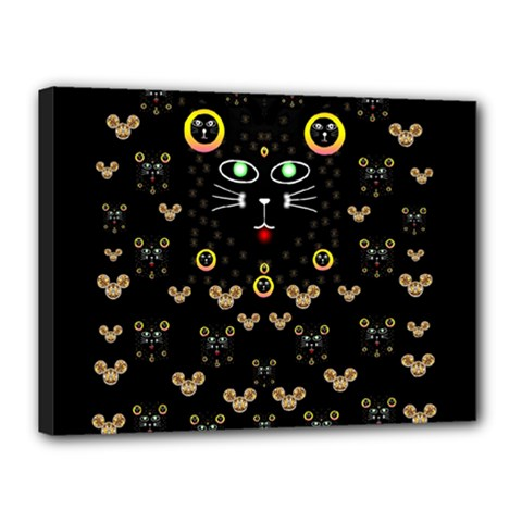 Merry Black Cat In The Night And A Mouse Involved Pop Art Canvas 16  X 12  by pepitasart