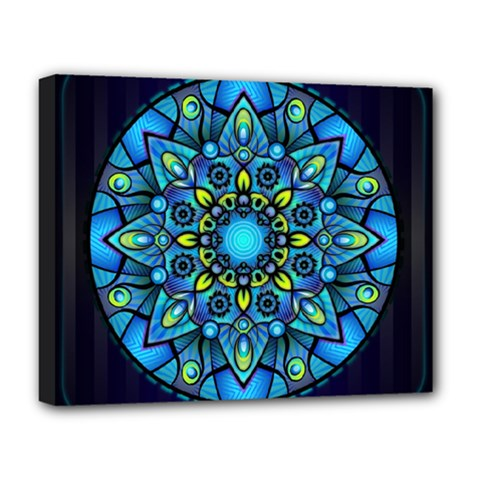 Mandala Blue Abstract Circle Deluxe Canvas 20  X 16   by Celenk